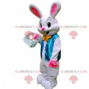 White rabbit costume with a blue vest and a bow tie -