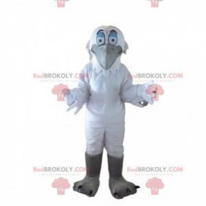 Mascote garça, grande ave marinha branca e cinza -