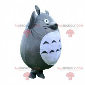 Mascote Totoro, guaxinim cinza e branco, fantasia de desenho