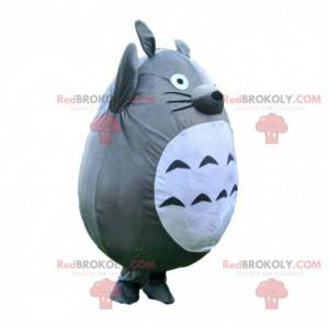 Maskot Totoro, mýval šedý a bílý, kreslený kostým -