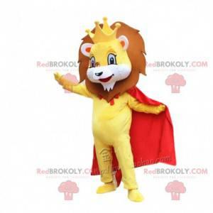 Mascotte gele leeuw met een rode cape en een kroon -