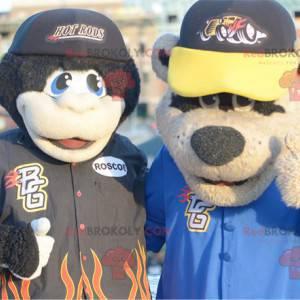 2 mascots: a black monkey and a brown bear - Redbrokoly.com