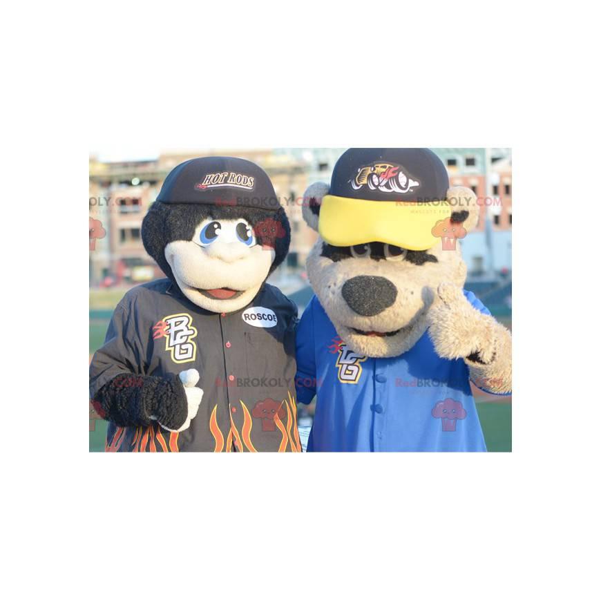 2 Maskottchen: ein schwarzer Affe und ein Braunbär -