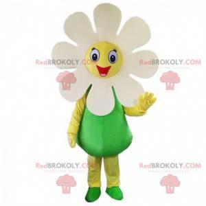 Gigantisk hvit blomst maskot, smilende tusenfryd kostyme -
