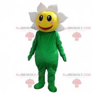 Traje de flores verdes, amarelas e brancas muito sorridente -
