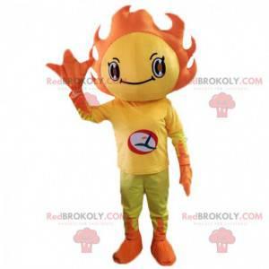 Mascote do sol amarelo e laranja. Traje de primavera florido -