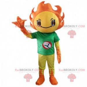 Geel en oranje zonnepak met een groen t-shirt - Redbrokoly.com