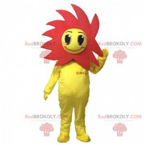 Mascota de flor amarilla y roja, disfraz de flor -