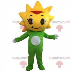 Green and yellow flower mascot with his head in the form of the