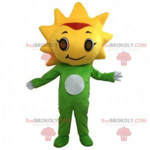 Groene en gele bloemmascotte met zijn hoofd in de vorm van de