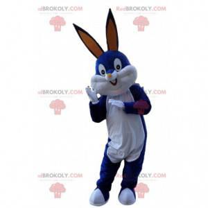 Blauw-witte mascotte Bugs Bunny, beroemd konijnenkostuum -