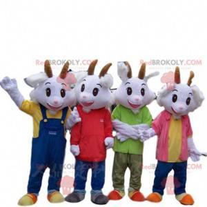 4 mascotas de cabra blanca vestidas con trajes coloridos -