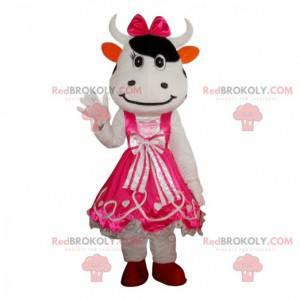 Witte koe mascotte met een jurk, roze koeienkostuum -