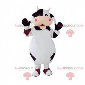 Traje de vaca preto e branco totalmente personalizável -