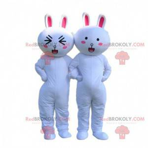2 mascots of white and pink rabbits, rabbit costumes -