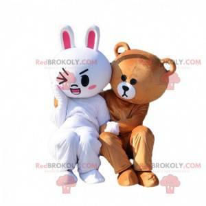 2 mascotes, um coelho branco e um ursinho de pelúcia -