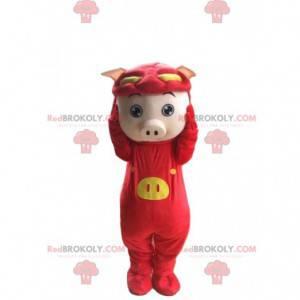 Mascote porco disfarçado de dragão vermelho, fantasia engraçada