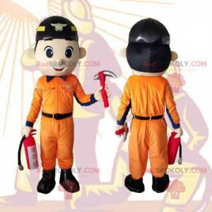 Firefighter mascot, worker, handyman man costume -