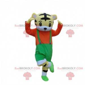 Pequeno mascote de tigre com macacão, fantasia de tigre -