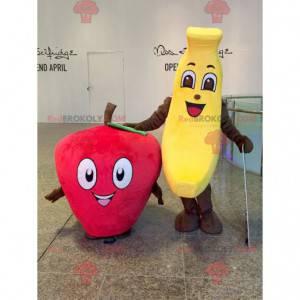 2 mascotes: uma banana amarela e um morango vermelho -