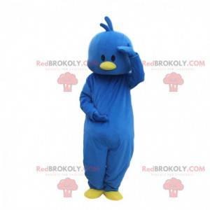 Traje de canário azul, traje de pássaro azul e amarelo -
