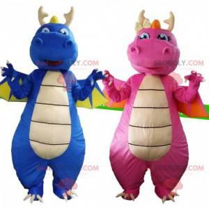 Disfraces de dragones, uno azul y uno rosa, 2 dragones -