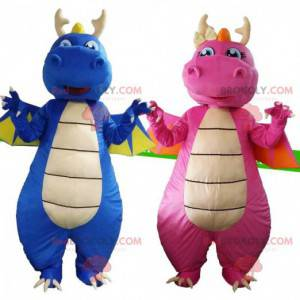 Dragons costumes, one blue and one pink, 2 dragons -