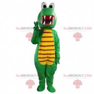 Mascote dragão verde e amarelo, fantasia de crocodilo -