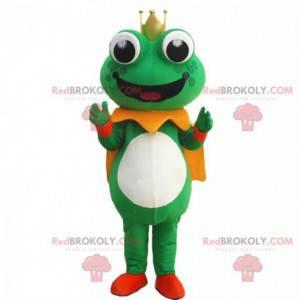 Grünes Froschmaskottchen mit einer Krone und einem Umhang -