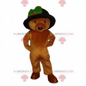 Braunes Teddybär-Maskottchen mit einem schönen Hut, Bärenkostüm
