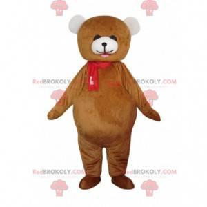 Velký hnědý a bílý kostým medvěda, kostým medvídka -