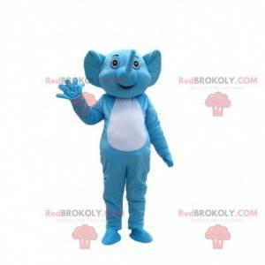 Fato de elefante azul e branco, fantasia de elefante -