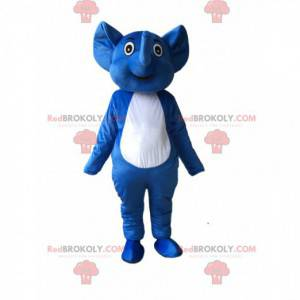 Mascote elefante azul e branco, fantasia de elefante -