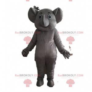 Traje de elefante cinza totalmente nu e personalizável -
