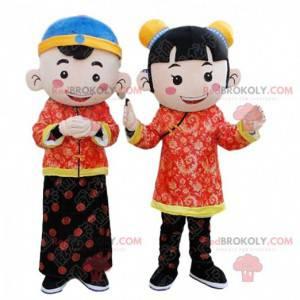 2 asiatische Kindermaskottchen, chinesische Kinderkostüme -