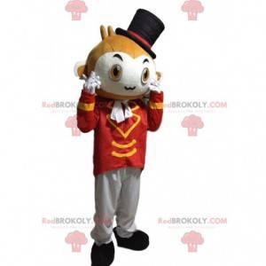 Mascota de mono de circo con un sombrero y un chaleco elegante.