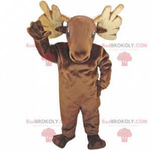 Brun rensdyrelg-maskot - Redbrokoly.com