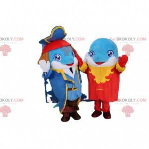 2 mascotte delfino con abiti da pirata alla moda -