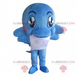 Blauw en wit dolfijn mascotte, kostuum reusachtige vis -