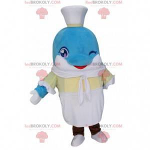 Mascotte delfino con un vestito da marinaio, schiuma -