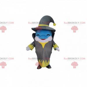 Modrý a bílý kostým delfína oblečený jako čaroděj -