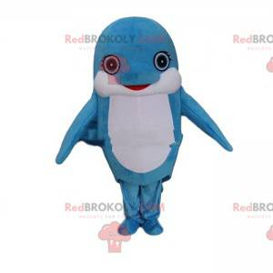 Blå og hvid delfin maskot, kæmpe fisk kostume - Redbrokoly.com