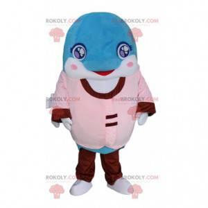Mascote golfinho azul e branco vestido de rosa e vermelho -