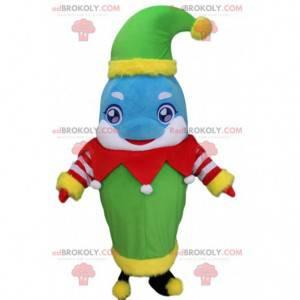 Modrý a bílý kostým delfína oblečený jako vánoční skřítek -