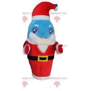 Kostým modrého a bílého delfína oblečeného jako Santa Claus -