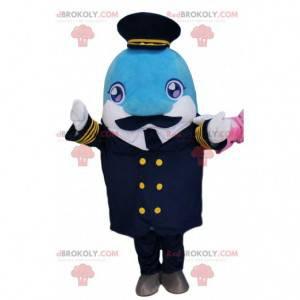 Mascota delfín en traje de capitán, traje de capitán -
