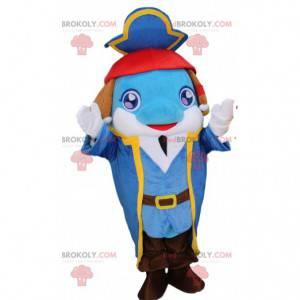 Mascote golfinho azul com roupa de pirata, fantasia de pirata -