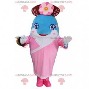 Mascota del delfín azul vestida con un traje de las islas, rosa