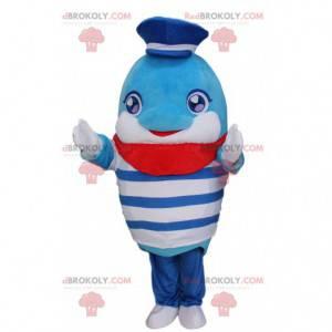 Mascote golfinho em roupa de marinheiro e suéter listrado -