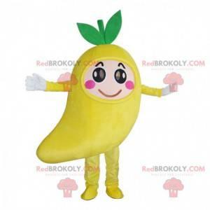 Mascota de mango gigante, disfraz de fruta exótica amarilla -